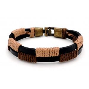 Bracelet unisexe en cuir noir véritable et cordelettes de couleur marron et beige