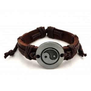 Bracelet unisexe en cuir véritable marron, plaque métal ronde avec logo yin et yang