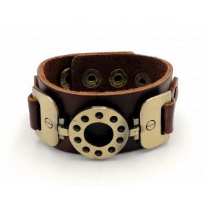 Bracelet manchette en cuir véritable épais de couleur marron et métal couleur bronze