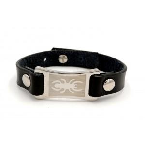 Bracelet en cuir noir véritable et plaque en acier avec une araignée gravée