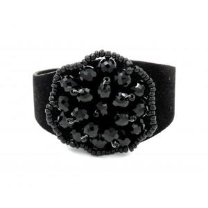 Bracelet manchette en cuir noir, perles de rocaille noires