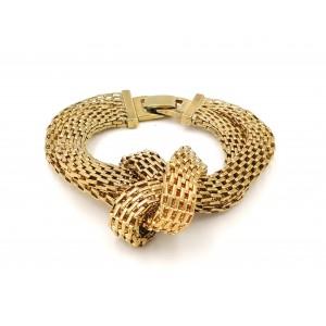 Bracelet avec des mailles doubles en métal doré