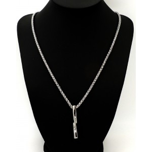 Collier en acier 316 L, chaîne épaisse et pendentif géométrique design