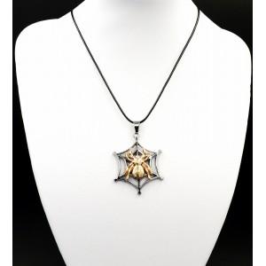 Collier avec pendentif araignée en acier titane 2 tons
