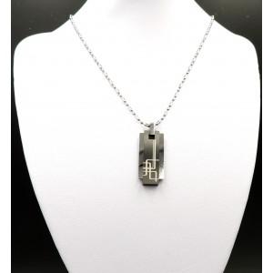 Collier en acier 316L motif géométrique en 2 parties, chaîne perlée
