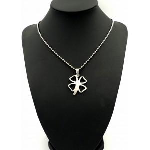Collier en acier 316 L, pendentif en forme de trèfle sur chaîne perlée