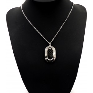 Collier en acier inoxydable, pendentif incrusté de carbone
