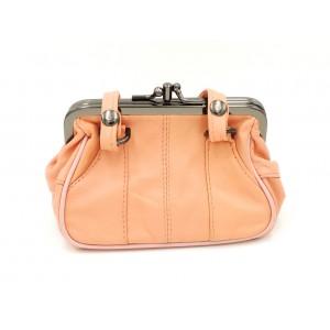 Porte-monnaie en forme de sac à mains en cuir véritable couleur saumon