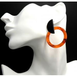 Boucles d'oreilles en acrylique de couleur orange et noire