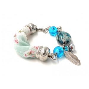 Bracelet Liberty en tissu bleu , perles et pierres