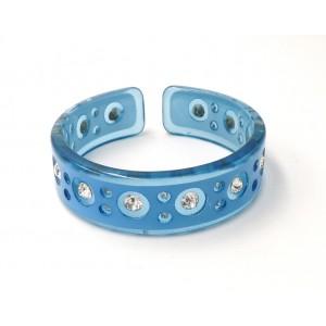 Bracelet en résine bleue transparente ornée de strass blancs