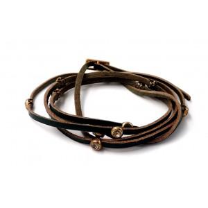 Bracelet multi rangs en cuir véritable vert foncé, strass