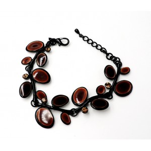 Bracelet en émail noir marron et strass