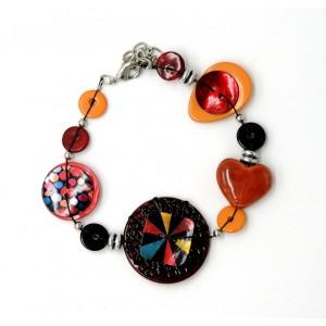 Bracelet en émail et pierres de couleur rouille, taupe et nacre
