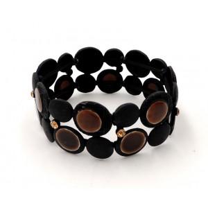 Bracelet en métal noir orné de disques en émail marron