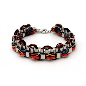 Bracelet brésilien avec tissu rouge et chaîne métal