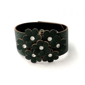 Bracelet manchette en cuir vert foncé, fleurs et strass
