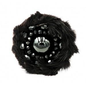 Bracelet en cuir noir, disque de fourrure noire et perles de rocaille