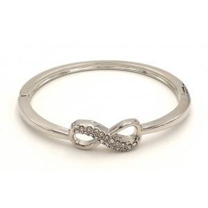 Bracelet infinity rigide en métal argenté et strass