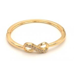 Bracelet infinity en métal doré orné de strass