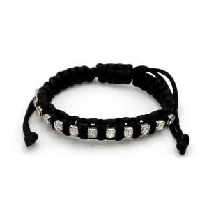 Bracelet avec un cordon noir tressé en soie orné de strass