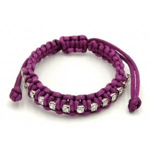 Bracelet ave un cordon tressé en soie de couleur violet orné de strass
