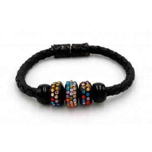 Bracelet en cuir noir tressé orné de disques incrustés de strass de couleurs différentes