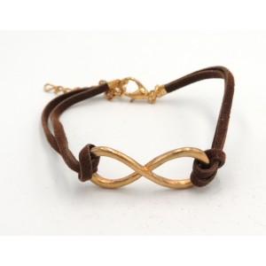 Bracelet en cuir marron infinity