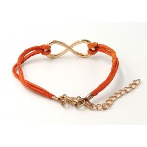 Bracelet en cuir orange infinity