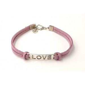 Bracelet en cuir mauve avec plaque métal inscription LOVE