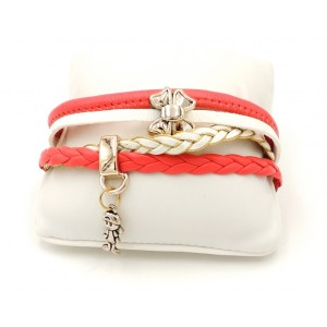 Bracelet en cuir rose, blanc, doré et breloques