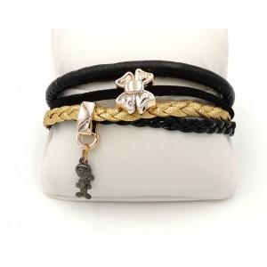 Bracelet en cuir noir, doré et breloques