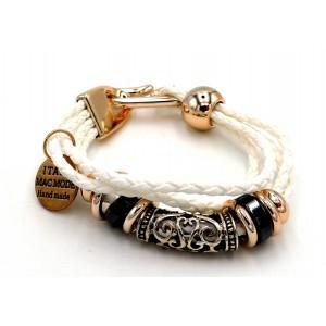 Bracelet fait main en cuir blanc, anneaux gris et dorés