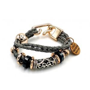 Bracelet en cuir gris fait main
