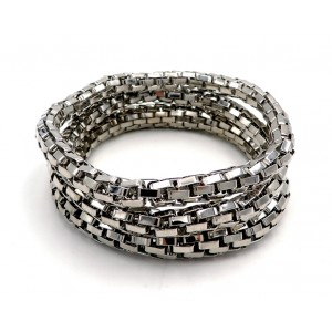 Bracelets trio en métal argenté, maillons en tube montés sur élastique