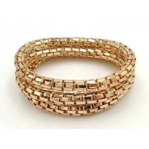 Bracelets trio en métal doré , maillons en tube montés sur élastique