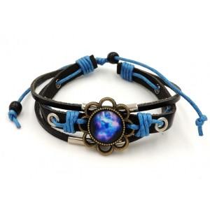 Bracelet en cuir véritable noir, cordon bleu, décor métal