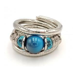 Bracelet serpent en métal argenté articulé pierres turquoise et anneaux
