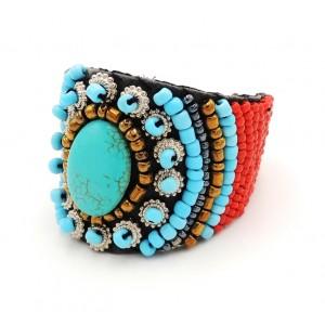 Bracelet ethnique Navajo, pierre turquoise et perles de rocailles rouges et dorées