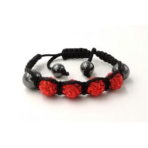 Bracelet Ytara Shamballa avec cristaux rouges et perles de verre gris métallique