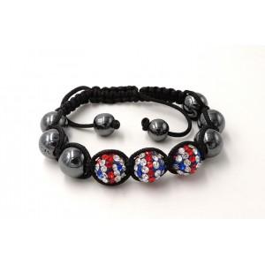 Bracelet Ytara Shamballa avec cristaux rouges, bleus et blancs et perles de verre gris métallique