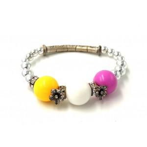 Bracelet avec des perles en métal et couleurs acidulées, strass