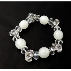 Bracelet en pierres de verre et cristal blanc