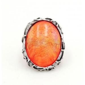 Bague ajustable XXL caméléon en métal argenté, pierre orange qui change de couleur