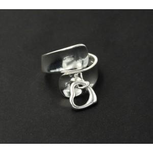 Bague ajustable en argent 925 avec un pendentif en forme de cœur