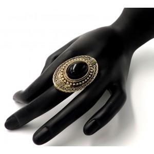 Bague ajustable style antique en métal façon or vieilli travaillé et pierre noire