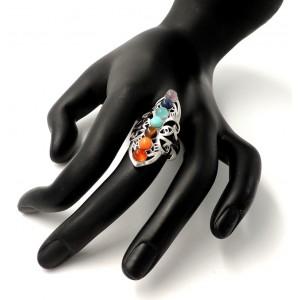 Bague ajustable en plaqué argent ornée de perles de couleurs
