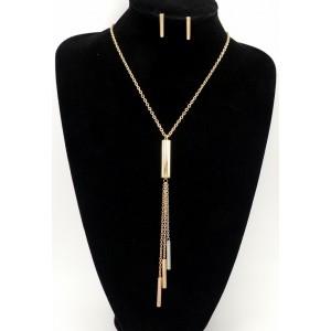 Parure collier et boucles en acier inoxydable 3 couleures or jaune, or rose et argent