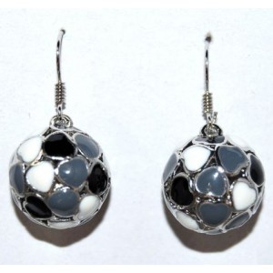 Boucles émail noir gris blanc, forme de sphère