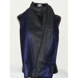 Echarpe de qualité premium pour homme, grise et bleu foncé